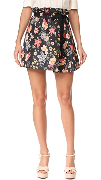 RED Valentino Floral Skirt - Black