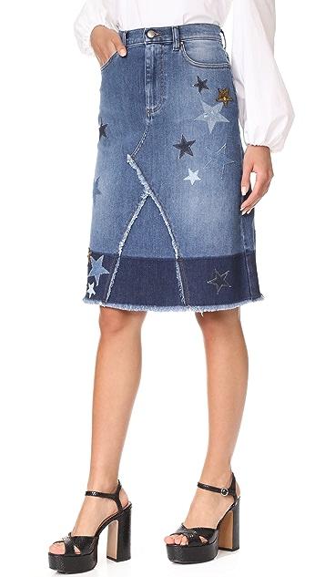RED Valentino Star Denim Skirt