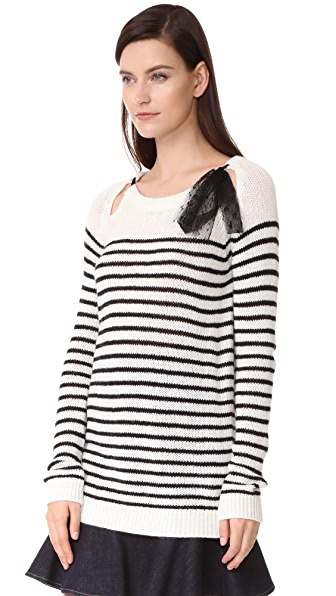 RED VALENTINO Tie Neck Sweater in Ivory/Black