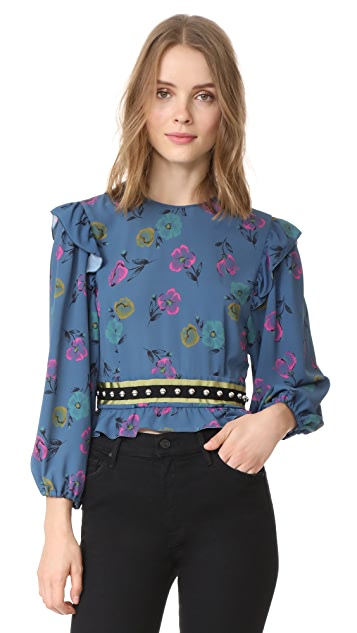 RED Valentino Cropped Blouse with Studs