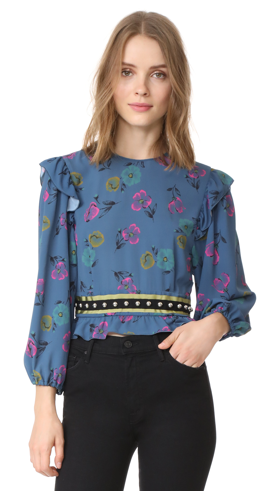 RED Valentino Cropped Blouse with Studs - Blue