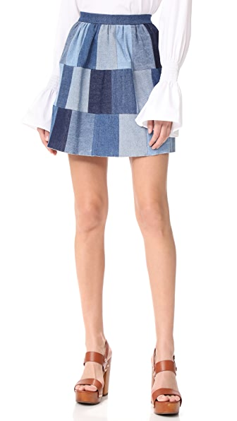RED Valentino Patchwork Denim Skirt - Light Denim Multicolor
