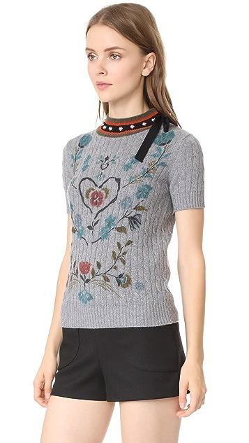 RED Valentino Studded Short Sleeve Sweatshirt