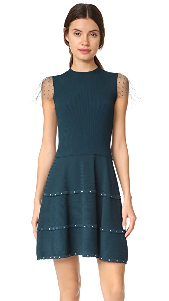 RED Valentino Short Sleeve Scalloped Dress