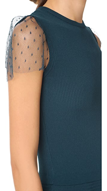 RED Valentino Short Sleeve Scalloped Dress