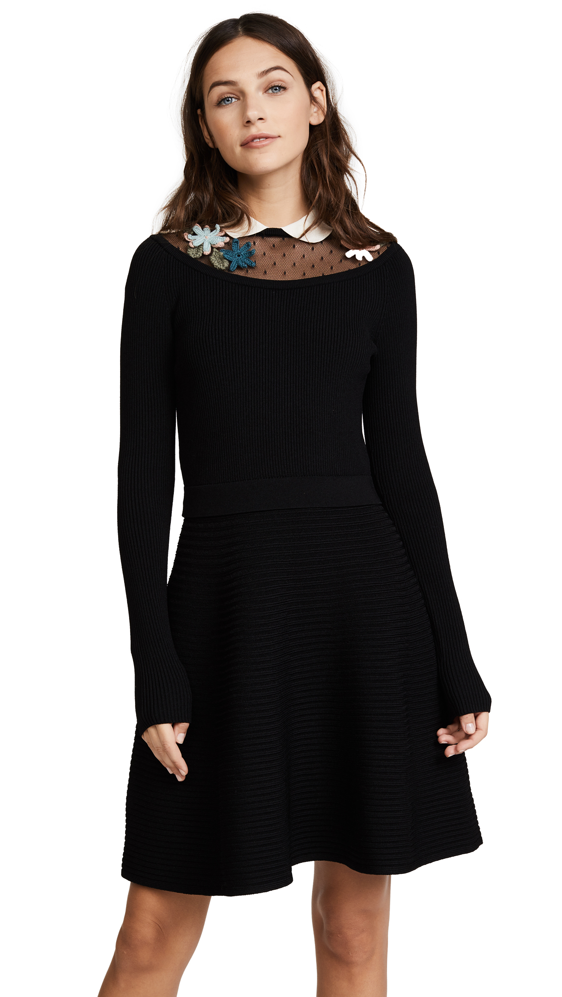 RED Valentino Long Sleeve Embroidered Dress - Black