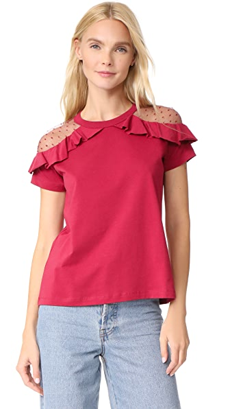 RED Valentino Short Sleeve Ruffle Tee In Red