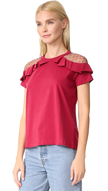 RED Valentino Short Sleeve Ruffle Tee