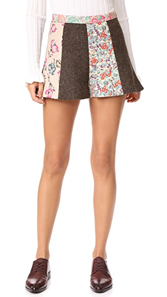 RED Valentino Herringbone Floral Shorts - Camel