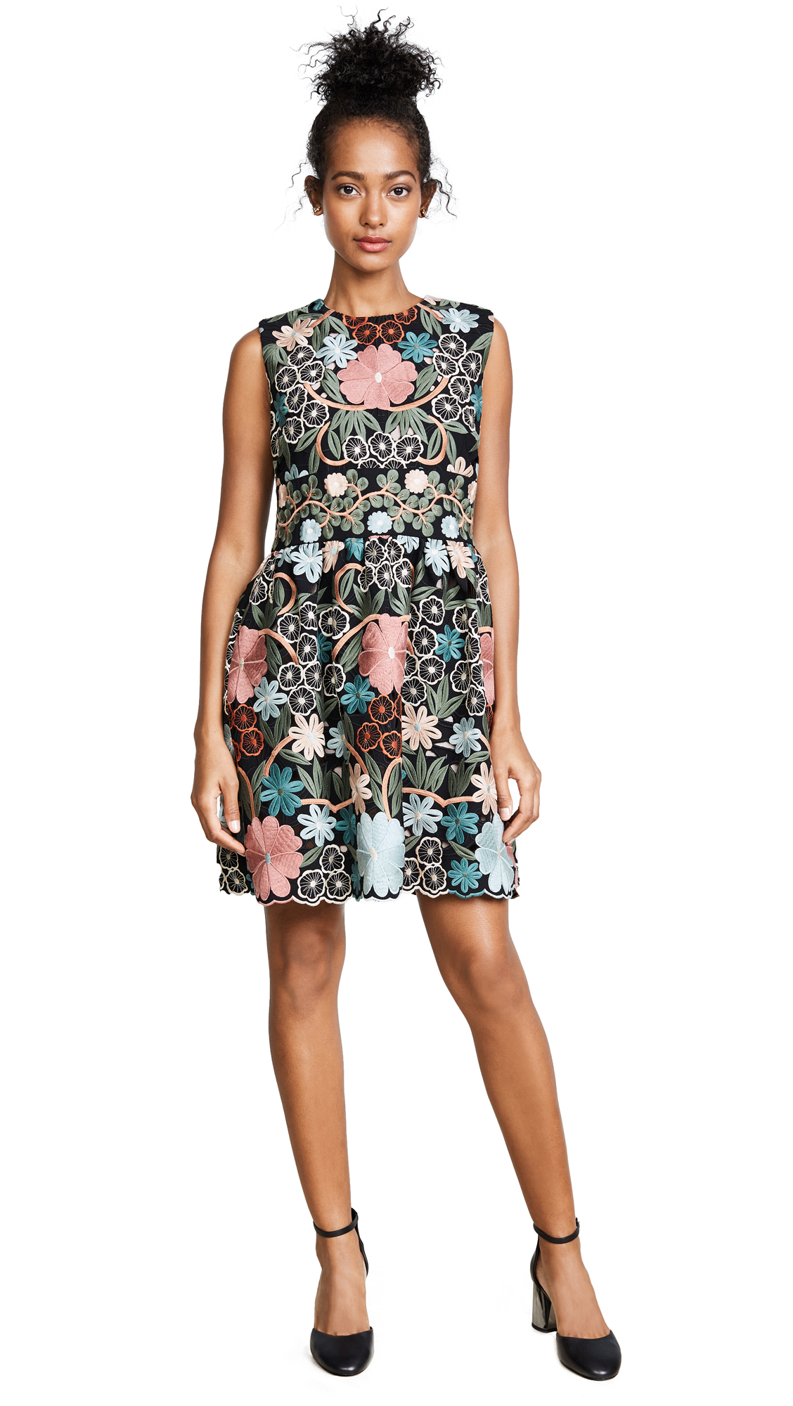 RED Valentino Crepe Embroidered Dress - Antique Rose
