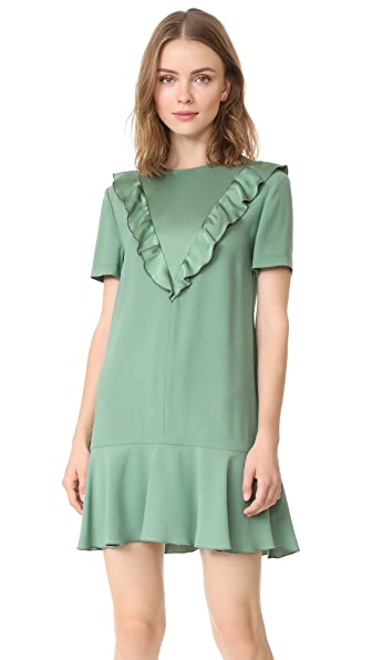 RED Valentino Ruffle Neck Crepe Dress