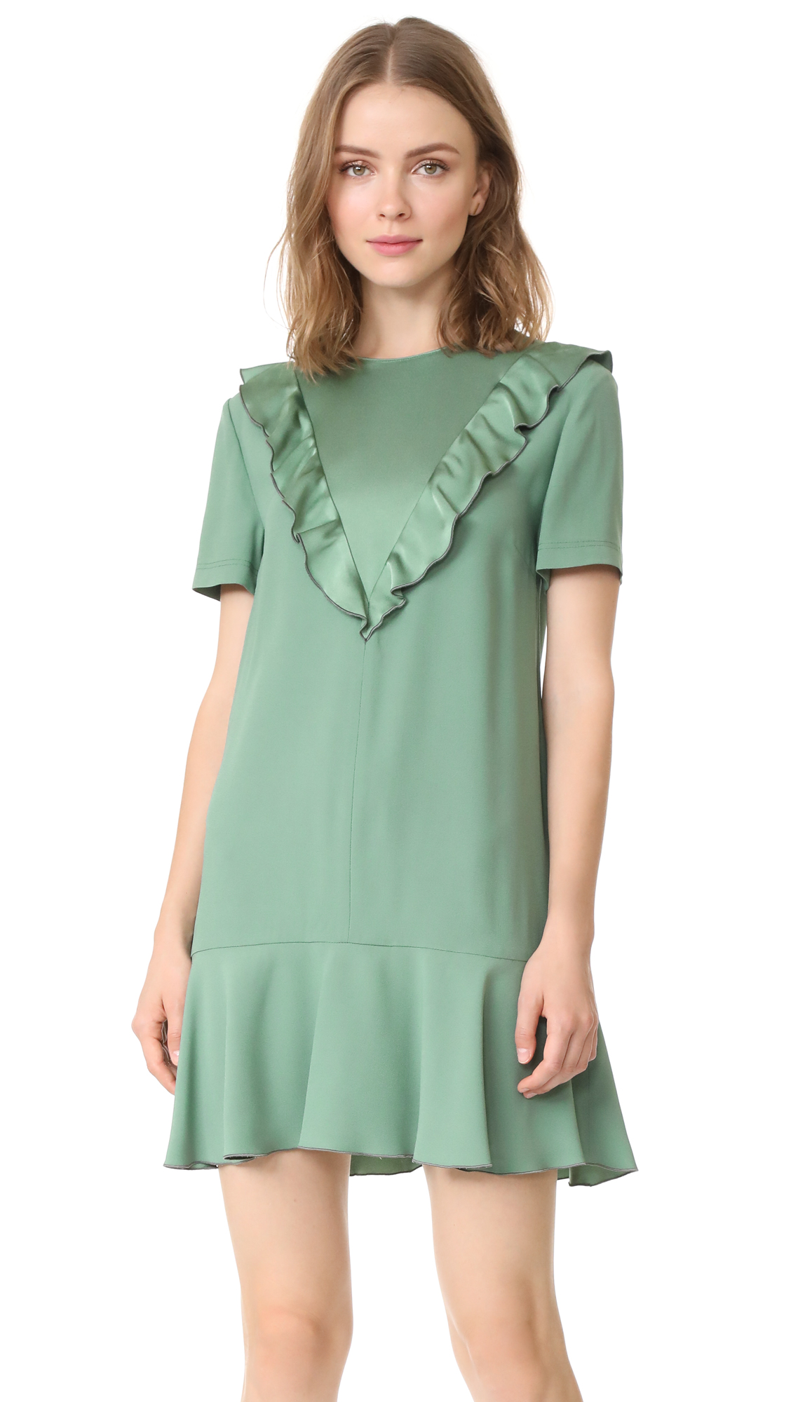 RED Valentino Ruffle Neck Crepe Dress - Sage