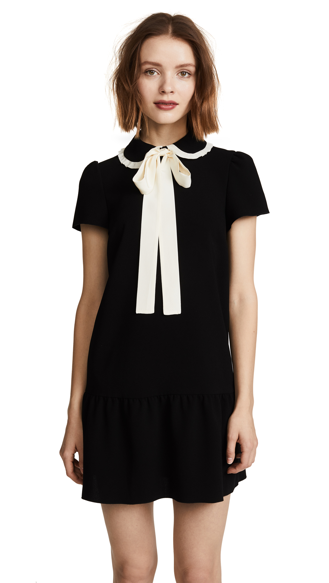 RED Valentino Collared Tie Neck Dress - Nero/Avorio