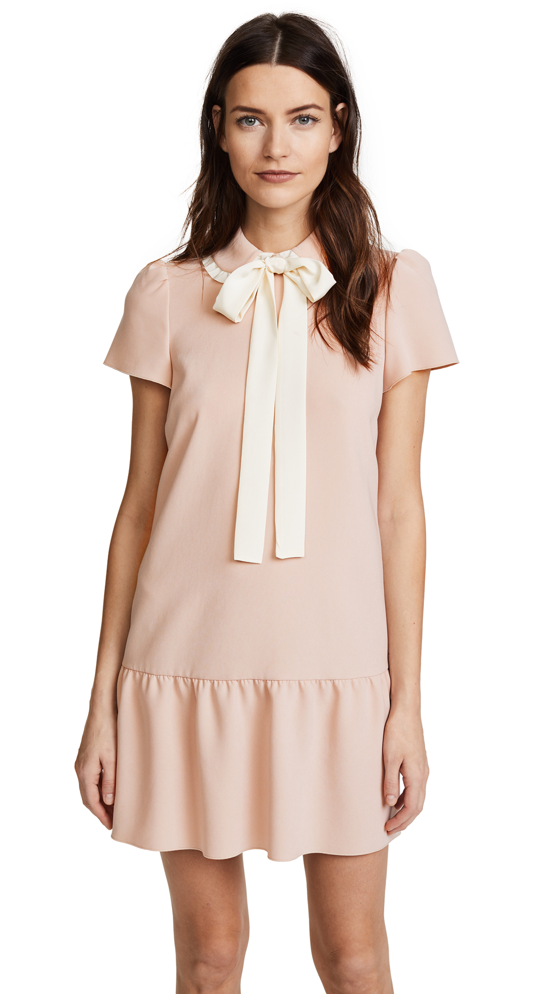 RED Valentino Collared Tie Neck Dress - Cameo/Avorio