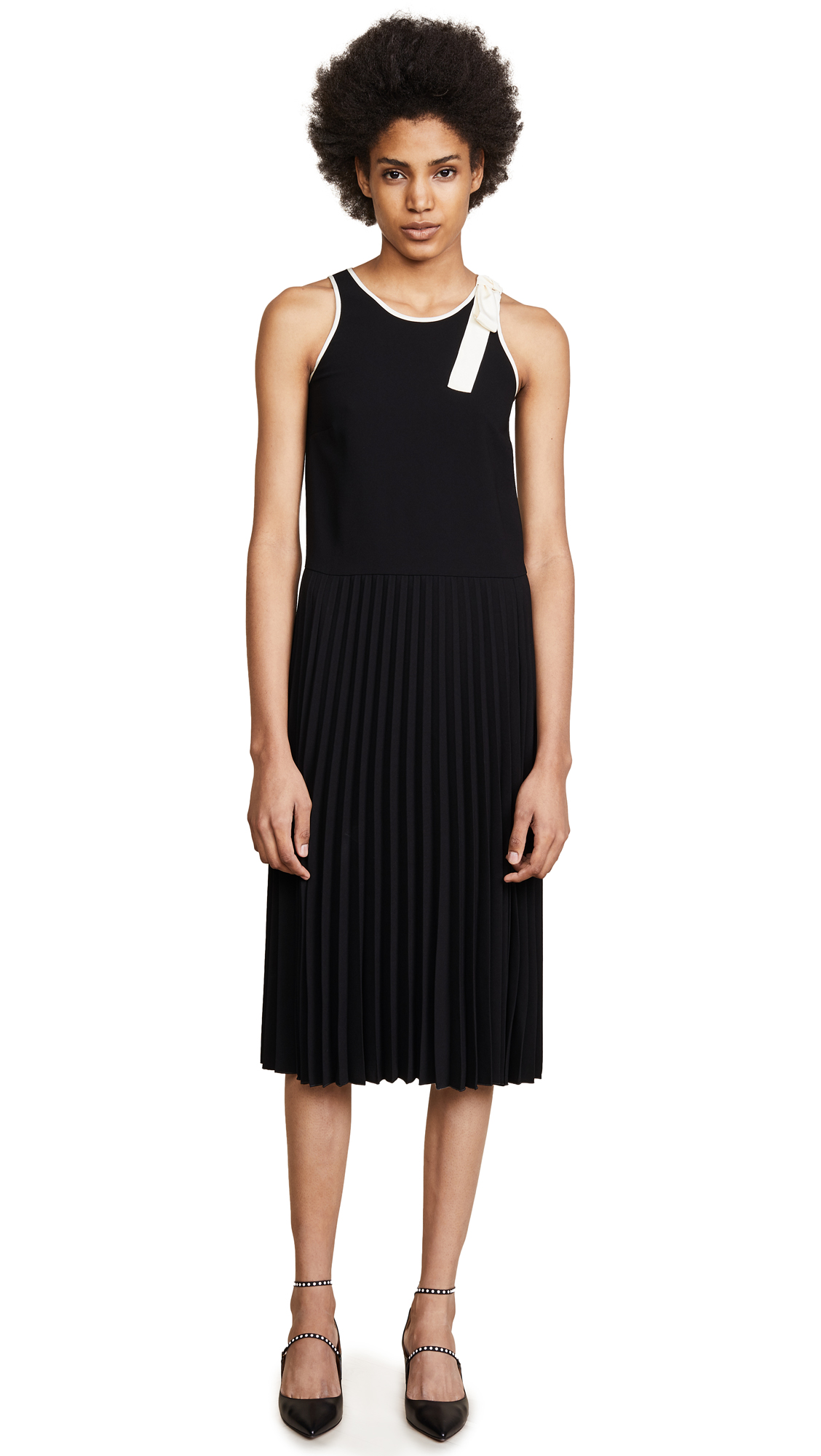 RED Valentino Pleated Dress - Nero/Avorio