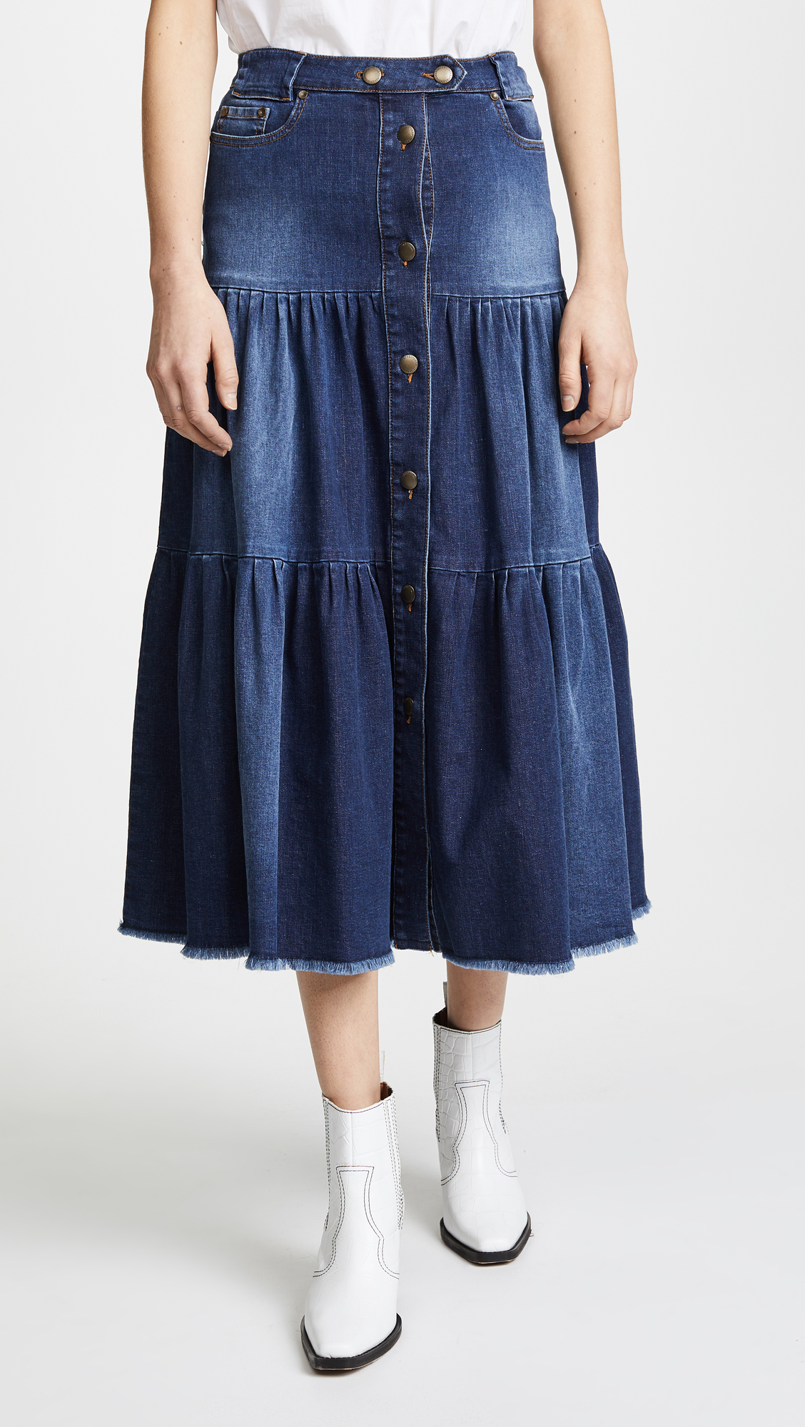 d733d435a RED Valentino Tiered Denim Skirt   SHOPBOP