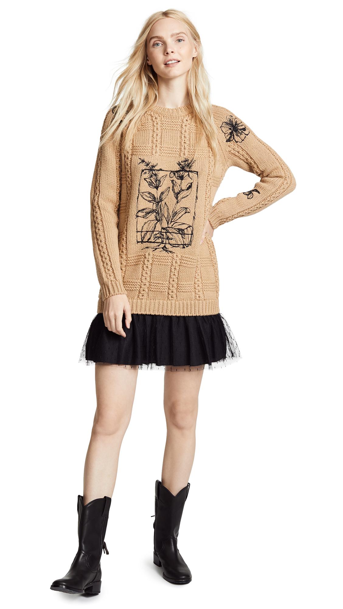 RED Valentino Printed Tunic Sweater Dress In Camello & Nero