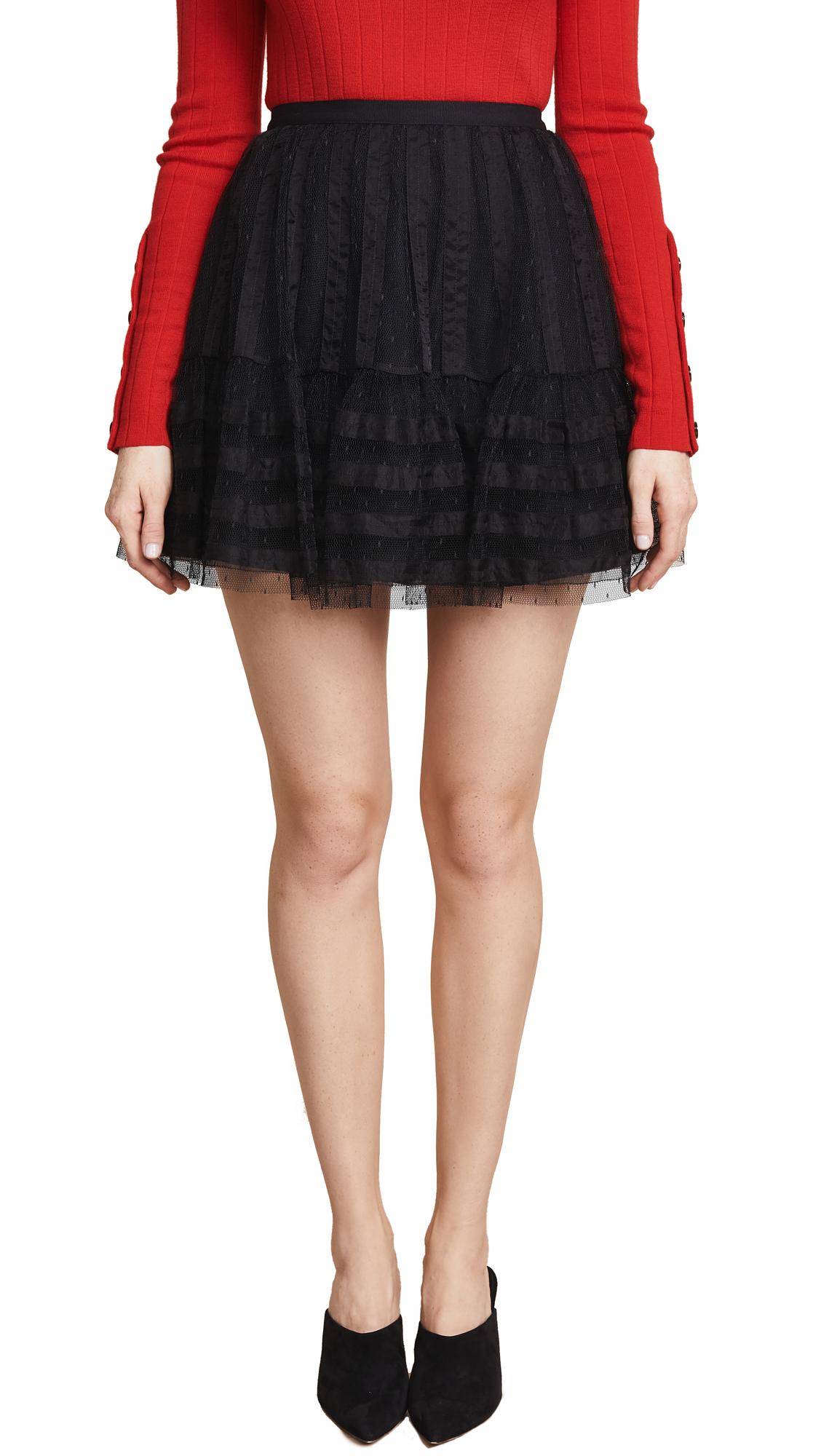 RED Valentino Textured Mini Skirt In Nero