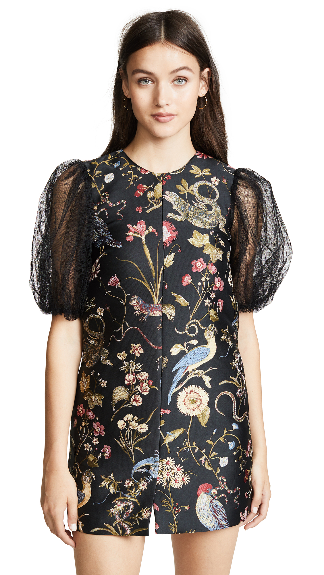 RED Valentino Floral Embroidered Dress - Nero