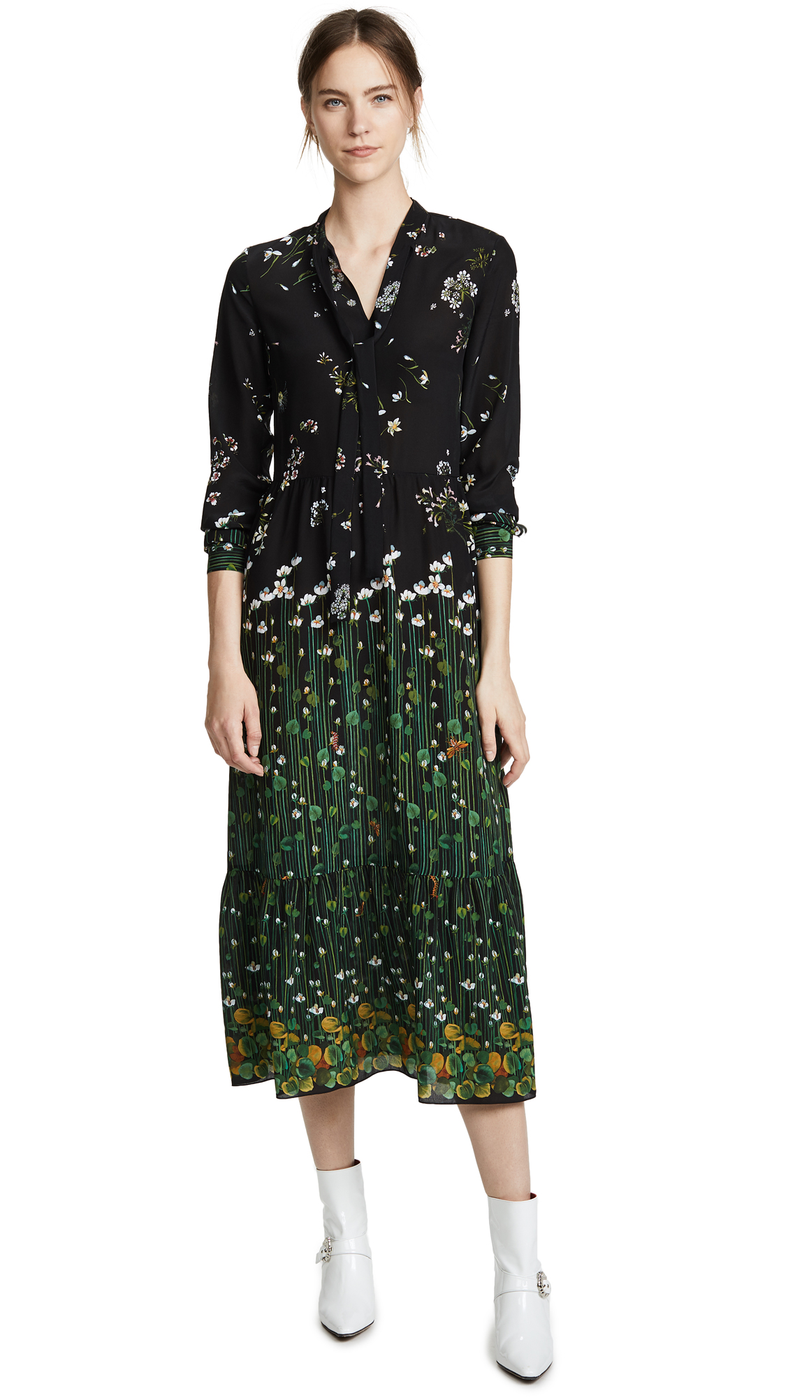 Floral-Print Silk-Chiffon Maxi Dress, Nero