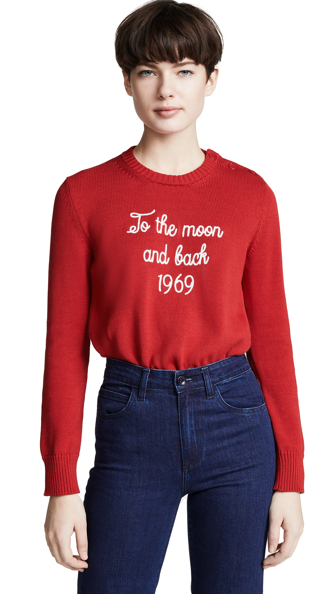 RED Valentino Embroidered Sweater - Deep Red