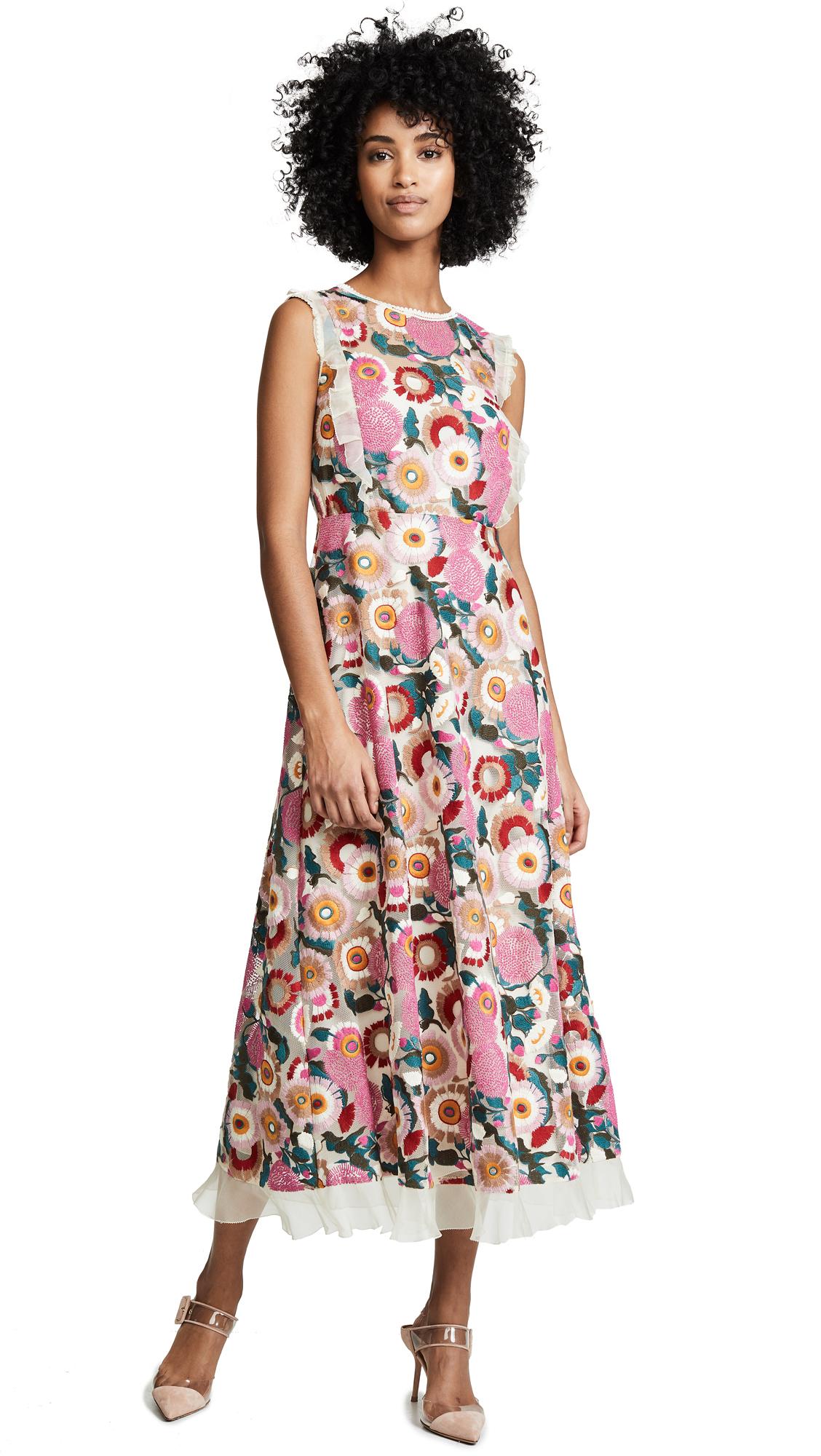 RED Valentino Floral Midi Dress - Avorio