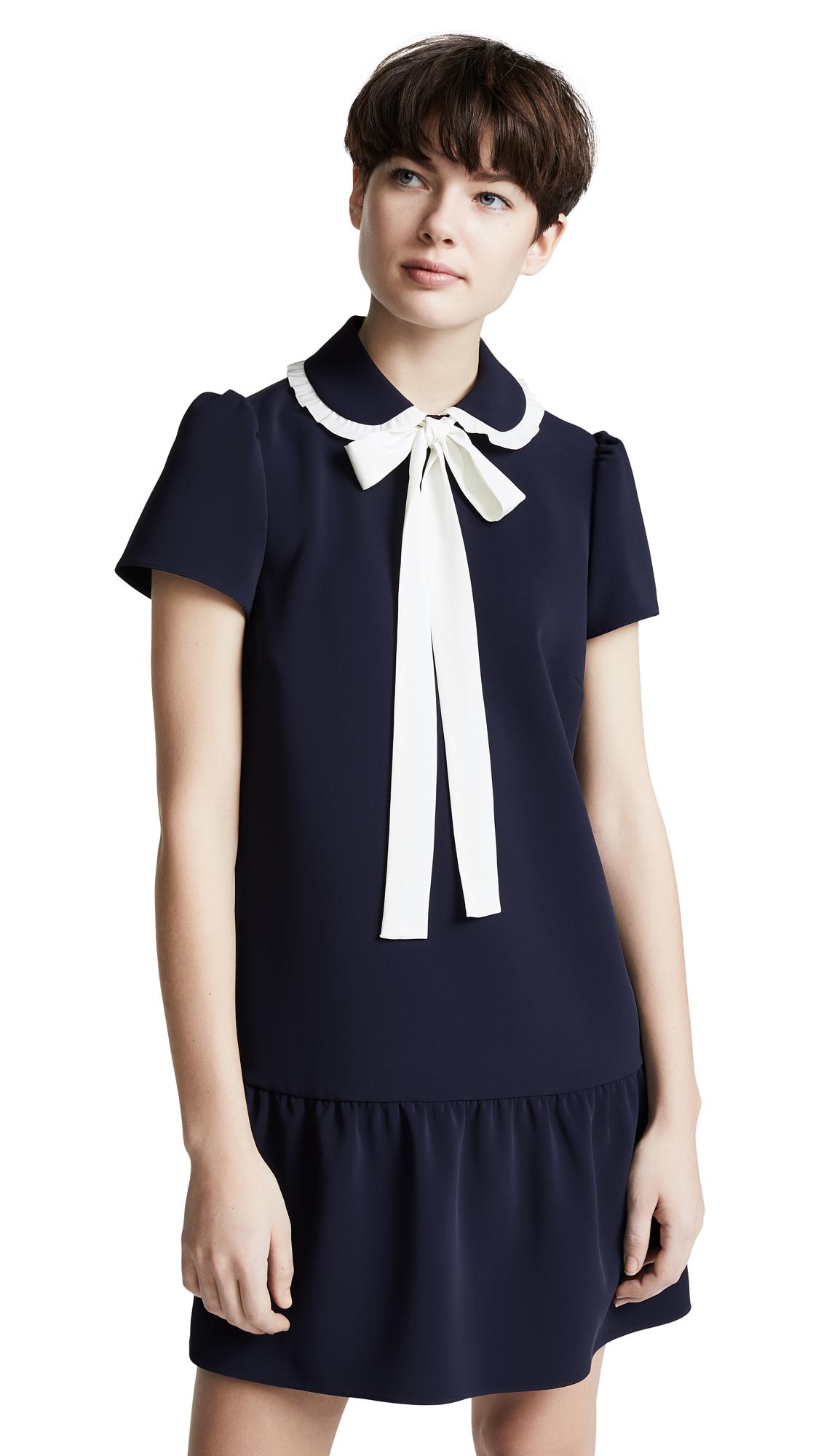RED Valentino Tie Collared Mini Dress - Blue/Latte