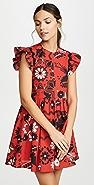 RED Valentino 荷叶袖印花连衣裙