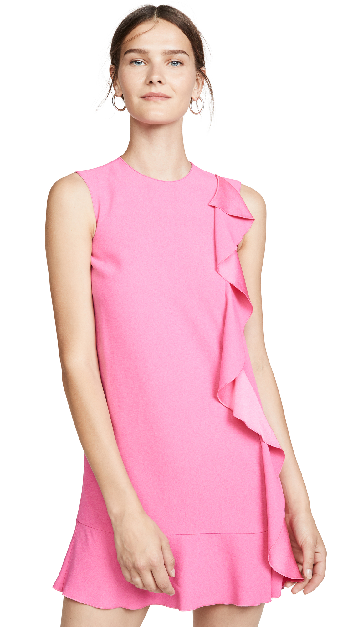 Red Valentino Sleeveless Mini Crepe Dress With Satin-Back Ruffle In Pink