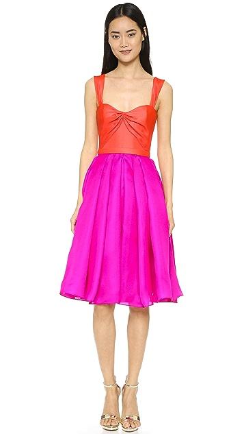 Reem Acra Silk Gazar Full Skirt Dress