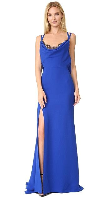 Reem Acra Silk Cowl Gown
