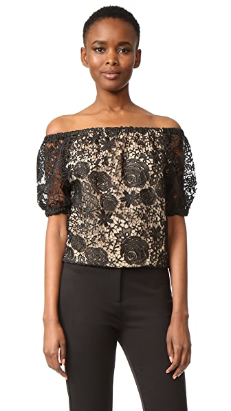 Reem Acra Lace Off the Shoulder Top - Black