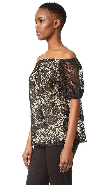 Reem Acra Lace Off the Shoulder Top