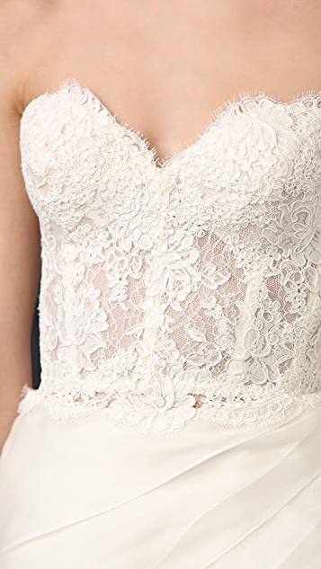 Reem Acra Lace Bustier Top