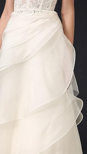 Reem Acra Asymmetrical Layered Skirt
