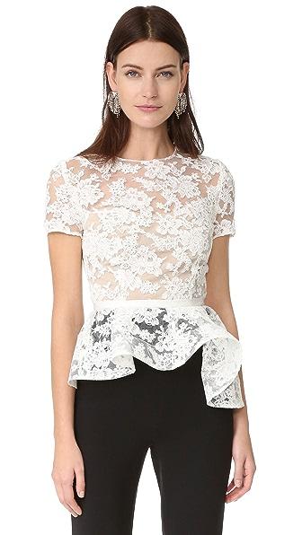 Reem Acra Short Sleeve Lace Top