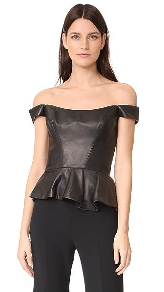 Reem Acra Leather Bustier Peplum Top - Black