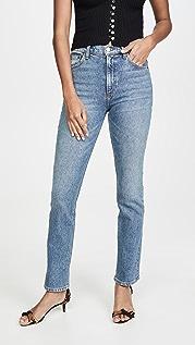 Reformation Прямые джинсы с высокой посадкой Liza