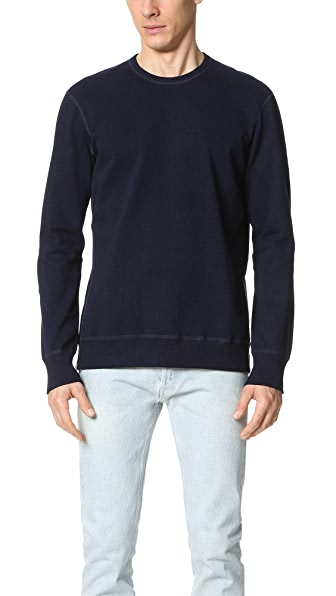 Reigning Champ Indigo Side Zip Crew Sweatshirt