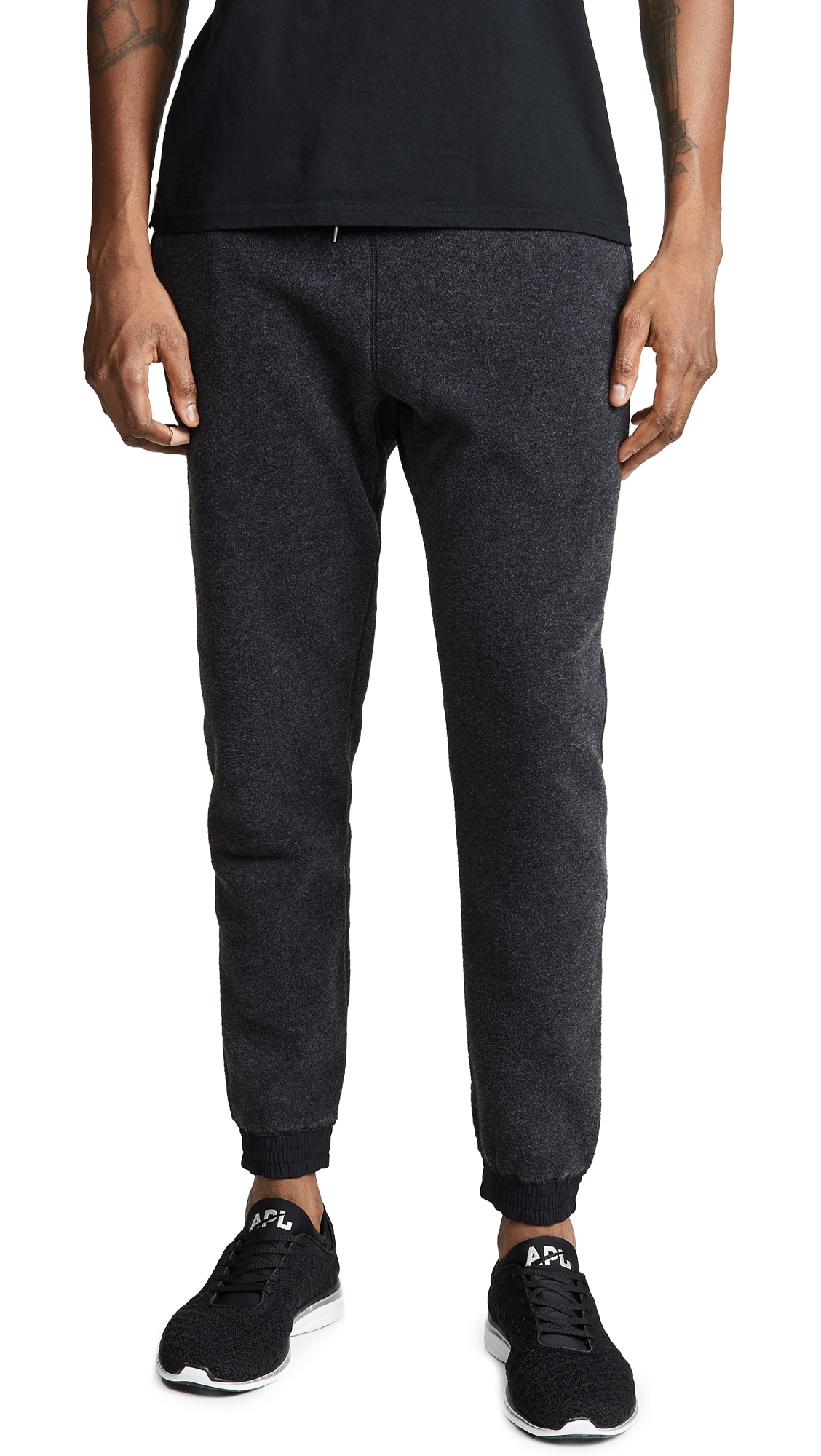 REIGNING CHAMP Slim-Fit Tapered Shell-Trimmed Polartec Fleece Sweatpants in Charcoal