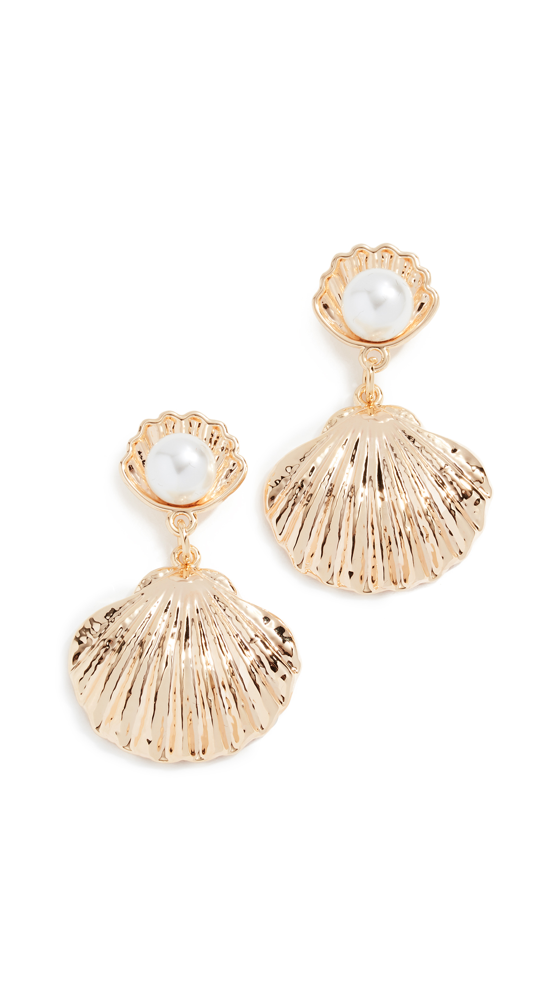 RELIQUIA Seashell Imitation Pearl Earrings in Yellow Gold/Pearl