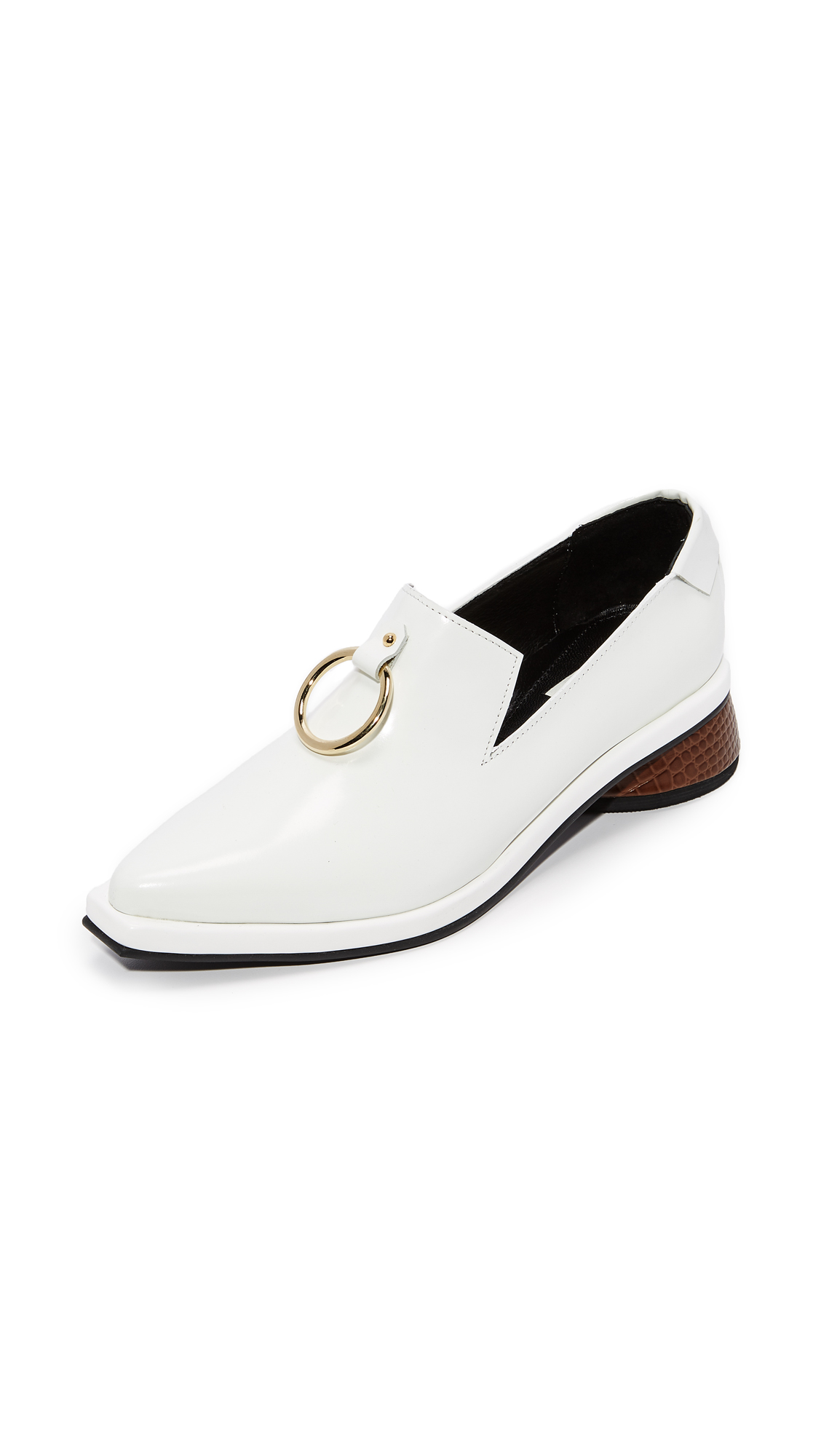 Reike Nen Ring Square Loafers - White/Brown