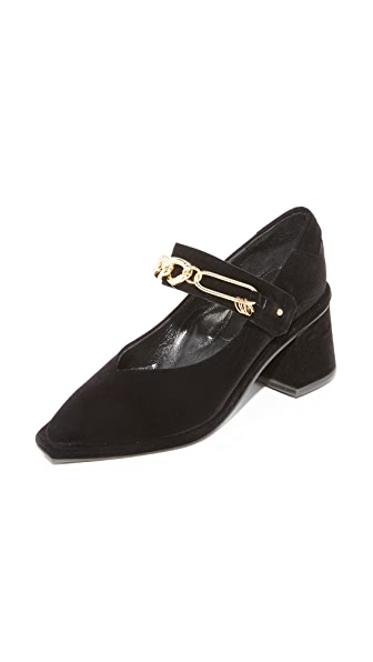 Reike Nen Square Mary Jane Chain Pumps In Black