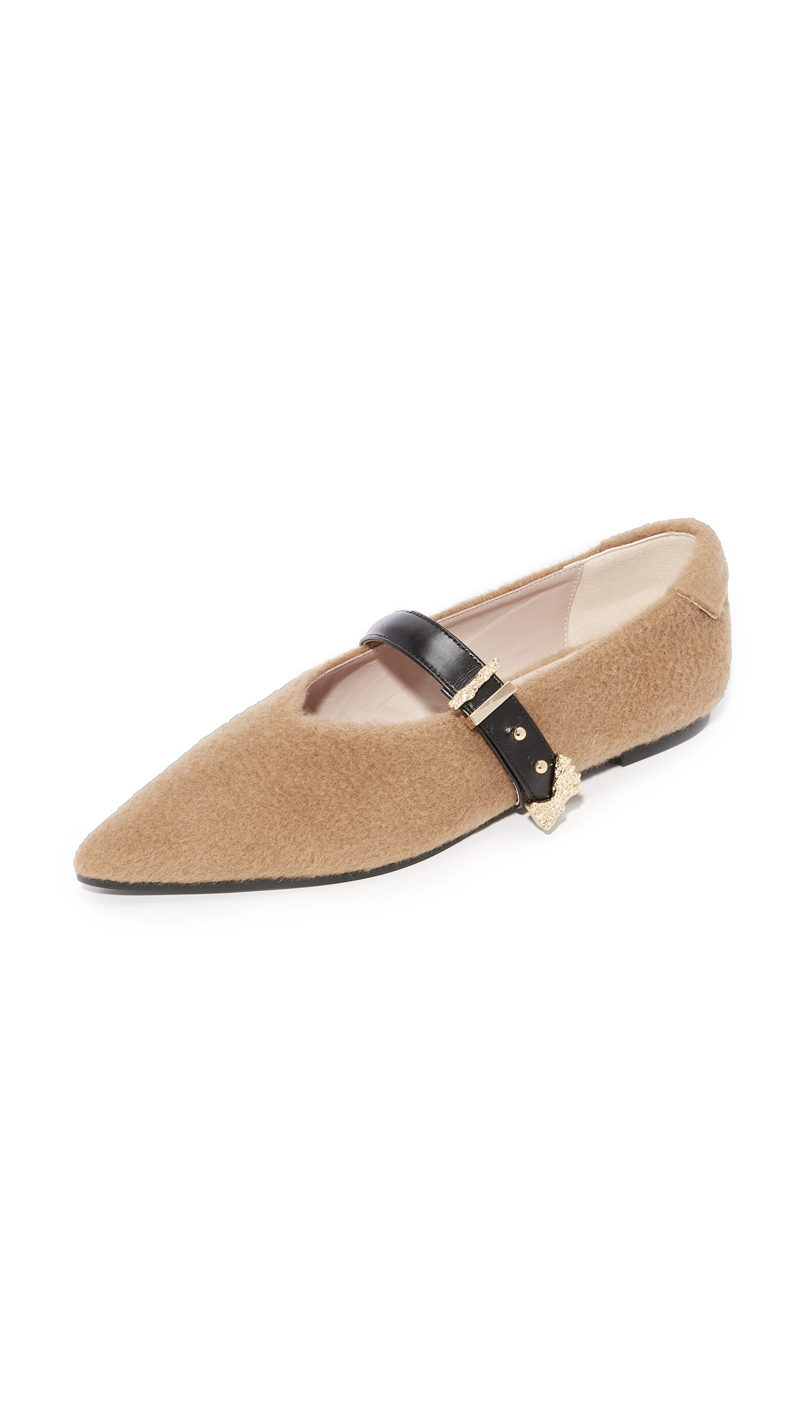 Reike Nen Pointed Buckle Flats - Camel/Black