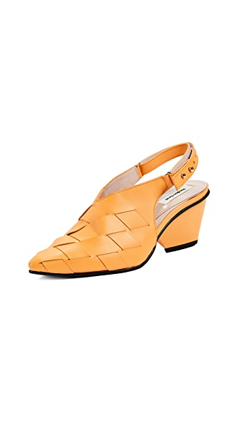 Reike Nen Weaving Middle Slingback Pumps In Mandarin