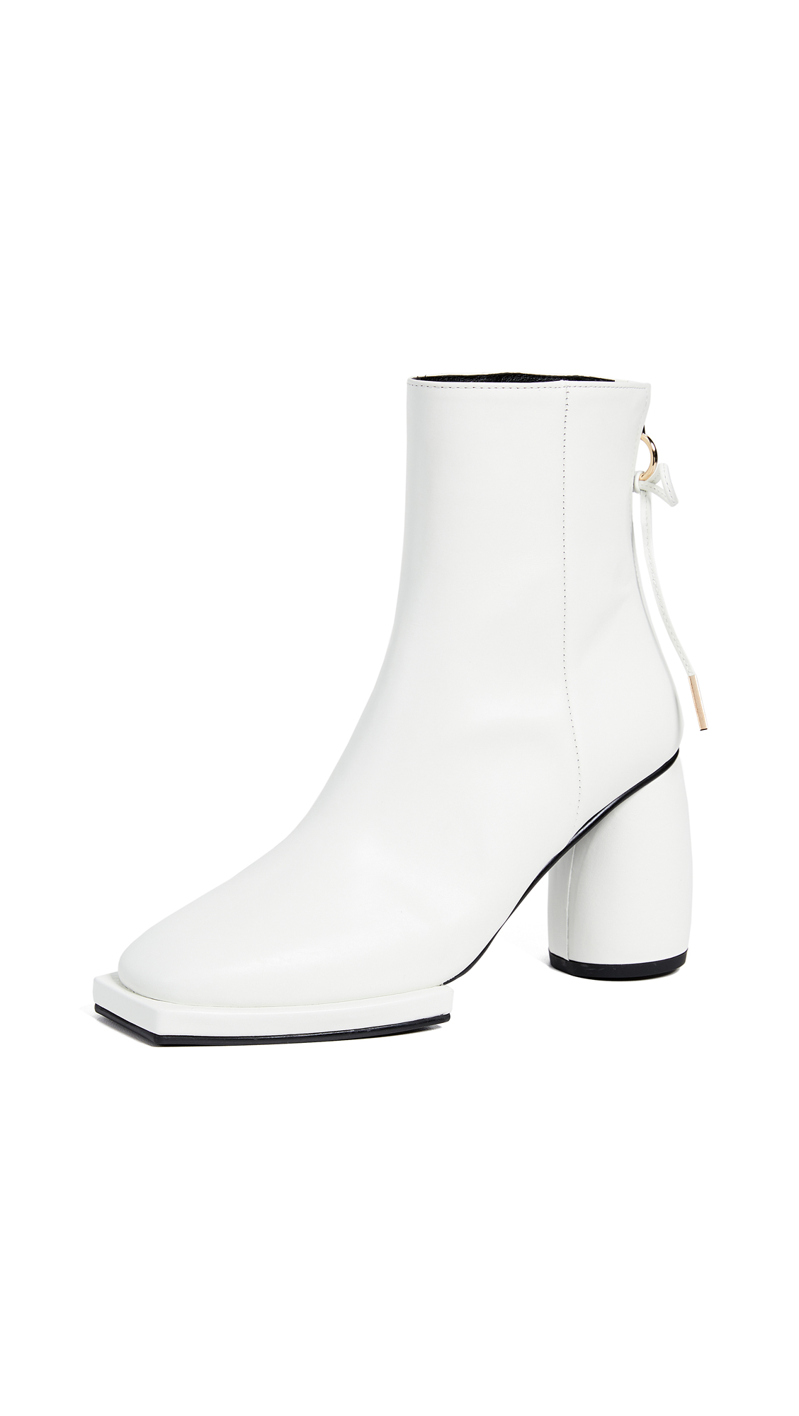 Square Ribbon Half Boots in White