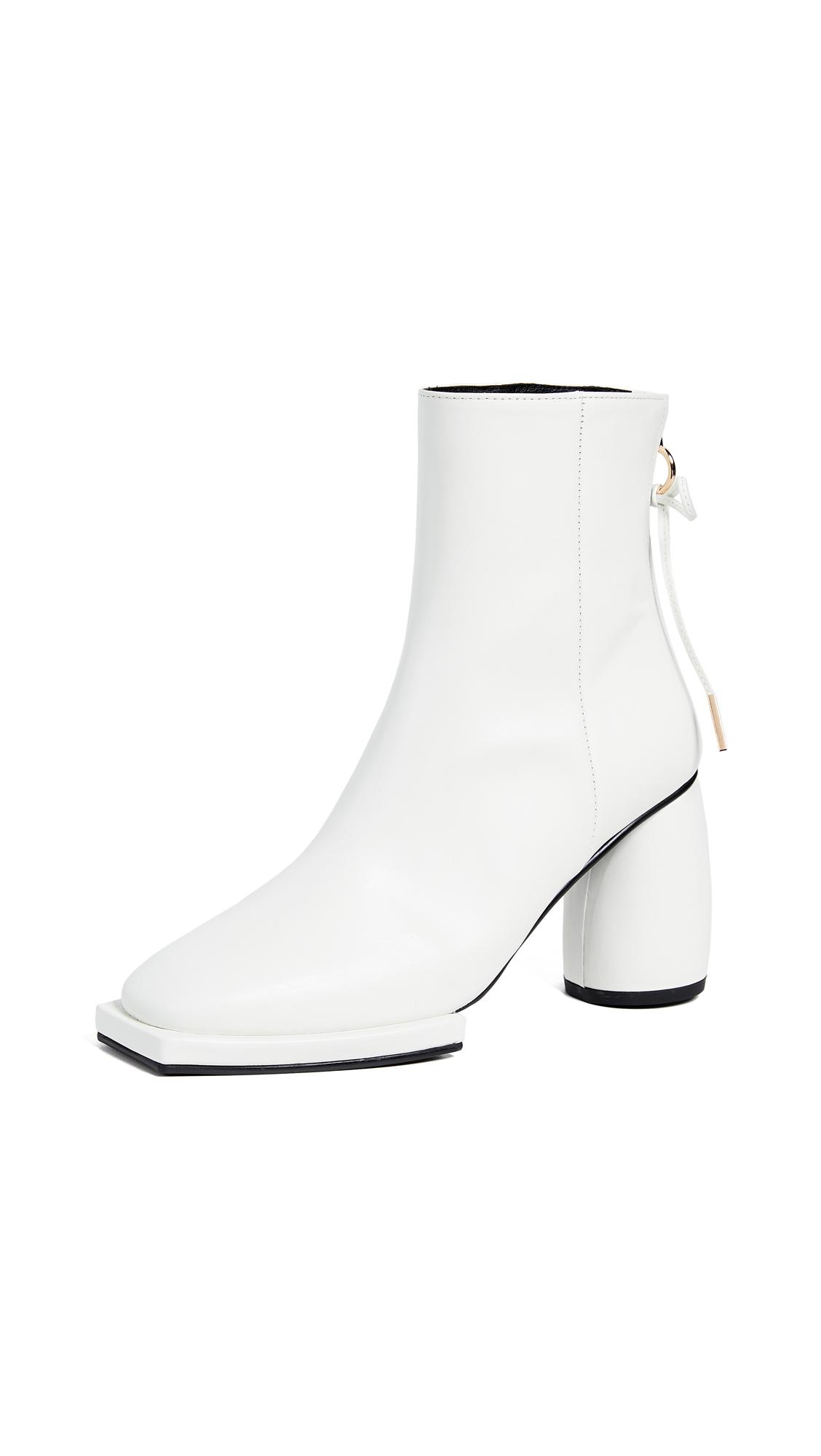 Reike Nen Square Ribbon Half Boots - White