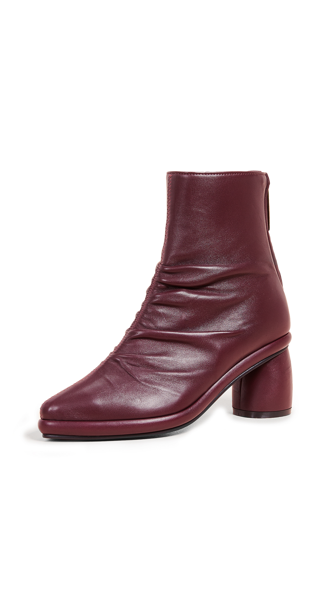 Reike Nen Shirring Middle Ankle Booties - Burgundy
