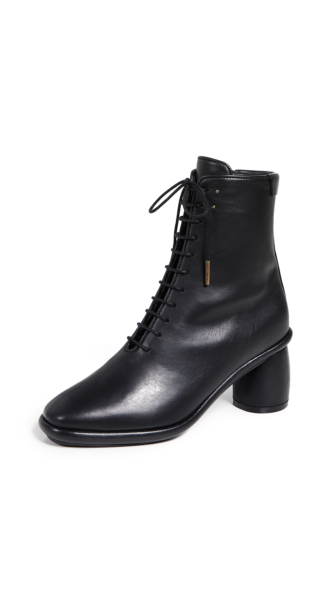Reike Nen Plain Middle Lace-up Boot - Black