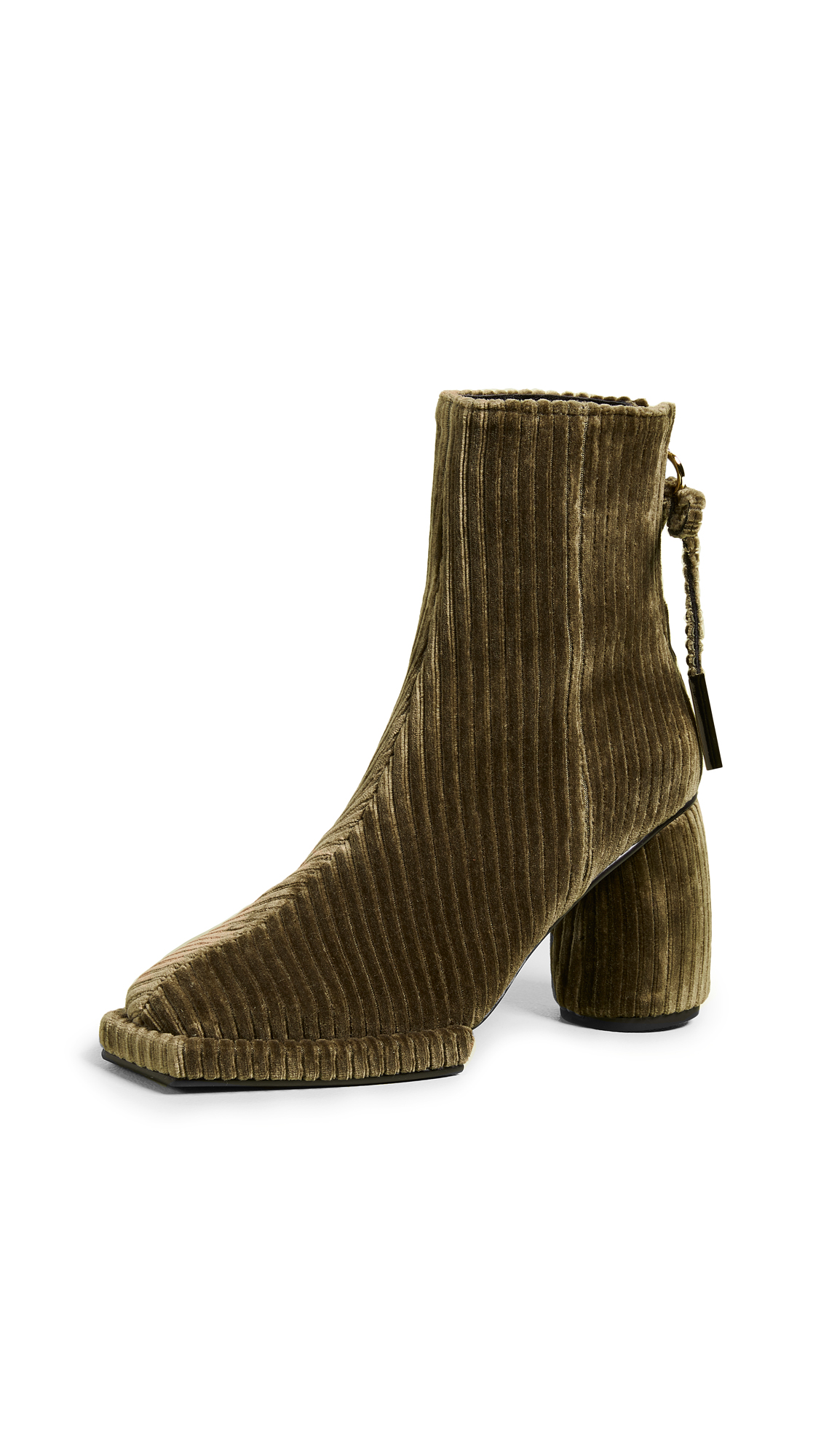 Reike Nen Square Ribbon Half Booties - Khaki